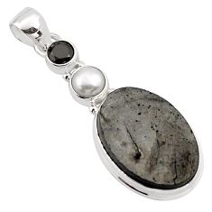 925 sterling silver 14.72cts natural black shungite onyx pendant jewelry p88650