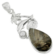 925 sterling silver 14.26cts natural black shungite pearl dolphin pendant p79399