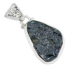 925 sterling silver 14.23cts natural black tektite fancy pendant jewelry p46075