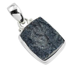 925 sterling silver 13.67cts natural black tektite pendant jewelry p46066