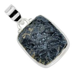 925 sterling silver 16.73cts natural black tektite pendant jewelry p46079
