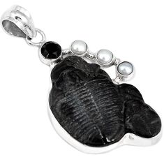 925 STERLING SILVER NATURAL BLACK TRILOBITE PEARL PENDANT JEWELRY G95814