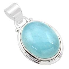 925 sterling silver 14.12cts natural blue aquamarine pendant jewelry p72819