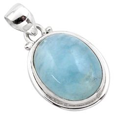 925 sterling silver 14.40cts natural blue aquamarine pendant jewelry p88424