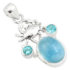 925 sterling silver 12.30cts natural blue aquamarine topaz crab pendant p77833