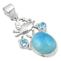 925 sterling silver 14.87cts natural blue aquamarine topaz crab pendant p77844