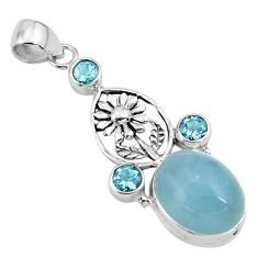 925 sterling silver 13.90cts natural blue aquamarine topaz flower pendant p77855