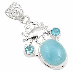 925 sterling silver 13.07cts natural blue aquamarine topaz pendant p78275