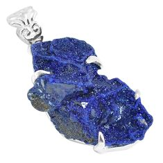 925 sterling silver 28.68cts natural blue azurite druzy pendant jewelry p63398