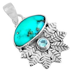 925 sterling silver 7.33cts natural blue campitos turquoise topaz pendant p90367