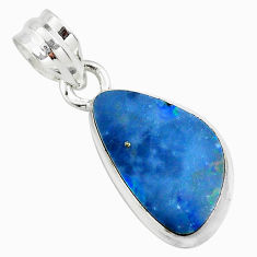 925 sterling silver 8.56cts natural blue doublet opal australian pendant p70472