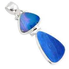 925 sterling silver 11.23cts natural blue doublet opal australian pendant p86834