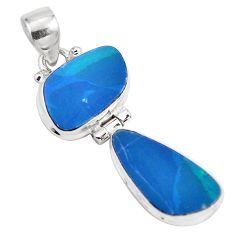 925 sterling silver 10.31cts natural blue doublet opal australian pendant p86837