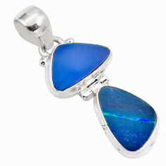 925 sterling silver 9.16cts natural blue doublet opal australian pendant p86840