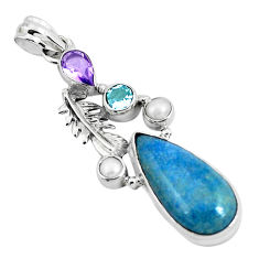 925 sterling silver 17.69cts natural blue dumortierite amethyst pendant p49494