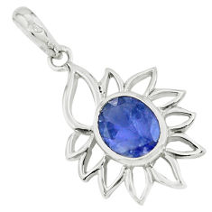 925 sterling silver 3.59cts natural blue iolite oval pendant jewelry p62649