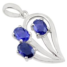 925 sterling silver 4.24cts natural blue iolite oval pendant jewelry p82073