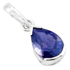 925 sterling silver 2.69cts natural blue iolite pear pendant jewelry p73678