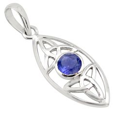 925 sterling silver 1.24cts natural blue iolite round pendant jewelry p82036