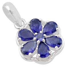 925 sterling silver 6.43cts natural blue iolite round pendant jewelry p83799