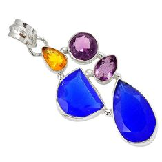 925 sterling silver natural blue jade amethyst citrine pendant jewelry h96112
