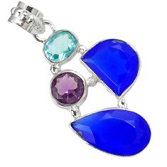 925 sterling silver natural blue jade amethyst topaz pendant jewelry h96176