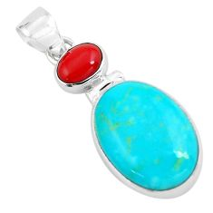 925 sterling silver 12.22cts natural blue kingman turquoise coral pendant p65284