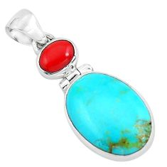 925 sterling silver 10.65cts natural blue kingman turquoise coral pendant p65294