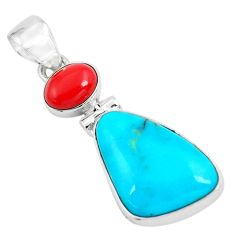 925 sterling silver 9.72cts natural blue kingman turquoise coral pendant p65318
