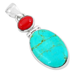 925 sterling silver 12.58cts natural blue kingman turquoise coral pendant p65331