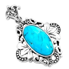 925 sterling silver 5.79cts natural blue kingman turquoise oval pendant c1760