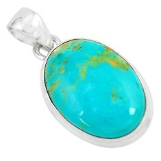 925 sterling silver 13.70cts natural blue kingman turquoise oval pendant p65324