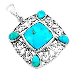 925 sterling silver 12.10cts natural blue kingman turquoise pendant c1751
