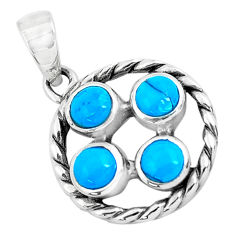 925 sterling silver 1.96cts natural blue kingman turquoise pendant jewelry c1648