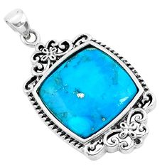 925 sterling silver 5.54cts natural blue kingman turquoise pendant jewelry c1748