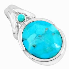 925 sterling silver 5.79cts natural blue kingman turquoise pendant jewelry c1757