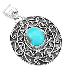 925 sterling silver 4.55cts natural blue kingman turquoise pendant p59071
