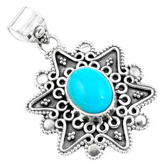 925 sterling silver 4.04cts natural blue kingman turquoise pendant p59077