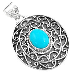 925 sterling silver 4.38cts natural blue kingman turquoise pendant p59080