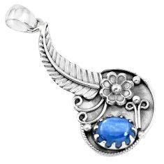 925 sterling silver 4.35cts natural blue kyanite flower pendant jewelry p41850