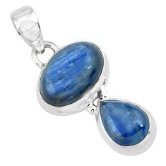 925 sterling silver 8.50cts natural blue kyanite oval pendant jewelry p67357