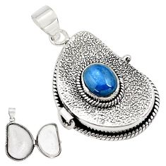 925 sterling silver 3.74cts natural blue kyanite oval poison box pendant p79830