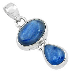 925 sterling silver 8.83cts natural blue kyanite oval shape pendant p67330