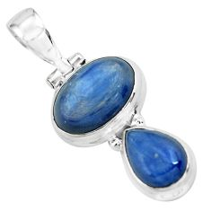 925 sterling silver 8.54cts natural blue kyanite oval shape pendant p67360