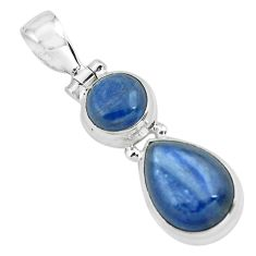 925 sterling silver 8.23cts natural blue kyanite pear shape pendant p67351