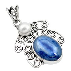 925 sterling silver 12.07cts natural blue kyanite pearl pendant jewelry p58875