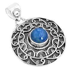 925 sterling silver 3.29cts natural blue kyanite round pendant jewelry p33506