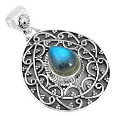 925 sterling silver 4.82cts natural blue labradorite pendant jewelry p33579