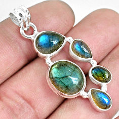 925 sterling silver 11.71cts natural blue labradorite pendant jewelry p33836