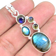 925 sterling silver 15.01cts natural blue labradorite pendant jewelry p39804